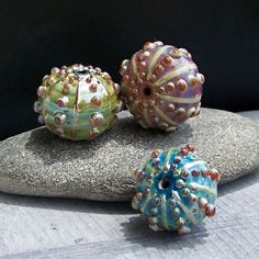 MruMru Handmade Lampwork Glass Bead set Hollow by magdalenaruiz, $44.95
