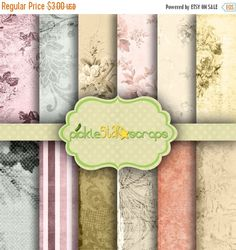 ON SALE Classic Romantic Garden Theme Papers - French Vintage - 12 Digital Scrapbook Papers - 12x12inch - Printable Backgrounds -  INSTANT D PickleStarScraps 2.70 USD
