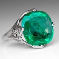Antique+5.5+Carat+Emerald+Cocktail+Ring+Diamond+Accents+18K+White+Gold+1930's