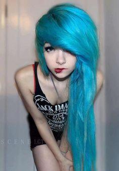 Make-up cute girl emo scene blue hair scene girl scene hair Emo Girl turquoise hair emo hair Goth Hair, Emo Hair, Scene Girls, Style Punk Rock, Mode Emo, Pelo Emo, Cute Emo Girls, Looks Instagram, Emo Scene Hair