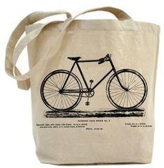 Canvas tote bag - Vintage Bicycle Tote bag -recycled