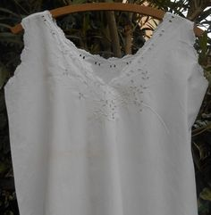 White Victorian  French cotton dress scalloped . Beautiful front floral cut outs…