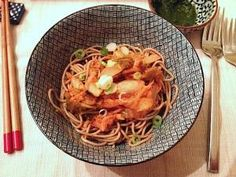 Kimchi Soba (Buckwheat Noodles) | The Whole Grains Council Definitely have to try this!  I've been looking for a good healthy recipe with kimchi.   soba, scallions, kimchi, rice vinegar, sesame seeds