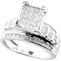 1.00ctw Princess Cut Diamond Wedding Ring 3 in 1 Engagement & Bands White Gold (i2/i3, I/j)