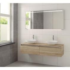 Bruynzeel Giro meubelset 150cm dubbele wastafel spiegel led bardolino - 222463k - Sanitairwinkel.be