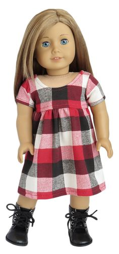 Fits: American Girl Doll  Includes: dress  Red, white, and black knit buffalo plaid dress. The back closes with Velcro. Cotton.
