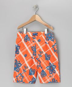 Take a look at this Orange Floral Boardshorts - Boys by iXtreme on #zulily today!