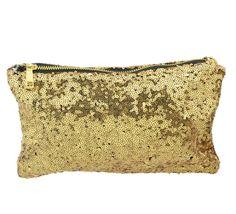 Gold Sequins Clutch Handbag