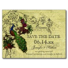 Vintage #Peacock Save the Date #Postcard --  Vintage Peacock #SavetheDate postcards, easy to customize by adding your wedding date, names, and other text.