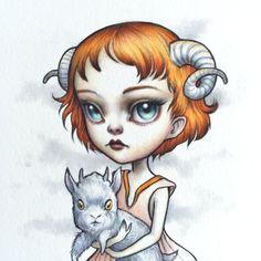 Aries - Zodiac fille signé lowbrow pop surréalisme de 8 x 10 tirage d'Art par Mab Graves-sans cadre