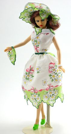 "Hankie Couture is shopping in springtime!  A delicate hankie makes a dress to fit 11 1/2"" Barbie, my custom designed Hankie Couture doll (shown here), and similar sized dolls! #Hankiecouture #doll #hankie #hanky"