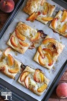 Peaches and Brie Puff Pastry tarts generously topped with brown sugar and honey. Like individual peach pies without all the work! via @gracegoodeats