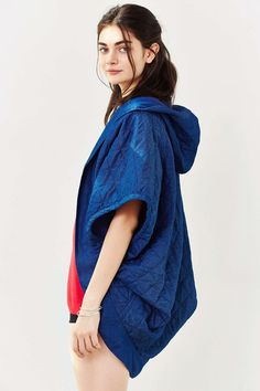 Quilted Chambray Cocoon Poncho
