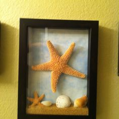 Shadow box with sand and seashells. Instead of the big starfish in the middle I could do a big sea horse! :)