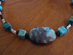 Crazy Lace Agate beaded gemstone necklace brass silver toggle twisted (F). $12.00, via Etsy, BaileyBeadz