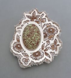 EleanorKennell - Brooch (enamel, copper, decal, coloured pencil, fabric, sterling silver)
