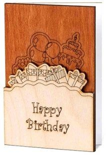 WOW Real Wood Handmade Happy Birthday Card with Presents Cake Balloons Outside and Flowers Inside Unique Original