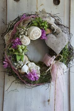 """ – a designer piece by Hoimeliges … - Bepflanzung Christmas Advent Wreath, Lavender Decor, Deco Wreaths, Easter Wreaths, Grapevine Wreath, Door Wreath, Dried Flowers, Flower Decorations, Floral Wreath"