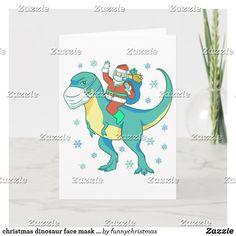 christmas dinosaur face mask santa invitation Christmas Card Holders, Christmas Cards, Christmas Dinosaur, Funny Xmas Gifts, Custom Invitations, Ugly Christmas Sweater, Create Yourself, Santa, Face