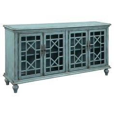 Make a statement with this eye-catching, textured media credenza. The beautiful geometric-shaped Chinese Chippendale fret work overlay allows a peek into the four doors. Simple moldings accentuate the horizontal shape and the ornate door pulls add even more detail to the doors.