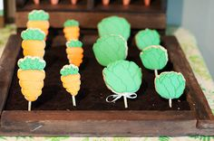 """Guess How Much I Love You"" book-themed 2nd birthday party: garden of cookie pops"