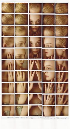 Elle Fanning Polaroid grid portrait (Maurizio Galimberti) [maybe do a construction of an entire face, with elements (squares) of different animals? Lions for strength, birds for wanderers, etc etc etc] Elle Fanning, A Level Photography, Portrait Photography, Concept Photography, Photomontage, Photo Polaroid, Polaroid Collage, Polaroid Pictures, Collage Portrait