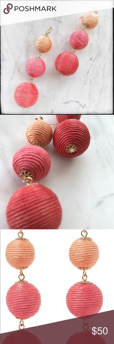 Kenneth Jay Lane Cord Earrings - Coral - BNWT Kenneth Jay Lane earrings - beautiful statement piece Gold-tone Coral, pink and peach cord Bell-back fastening for pierced ears Anthropologie Jewelry Earrings
