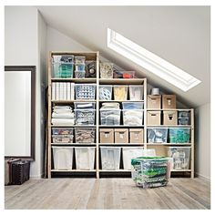 """IVAR 3 section shelving unit, pine, Width: 102"""" Height: 89"""". Shop today! - IKEA Shelves Under Stairs, Room Shelves, Storage Shelves, Storage Ideas, Under Steps Storage, Under Stairs Cupboard Storage, Ikea Ivar Shelves, Staircase Storage, Ikea Storage"""
