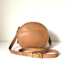 Vintage Round Coach tan Crossbody Bag by pascalvintage on Etsy