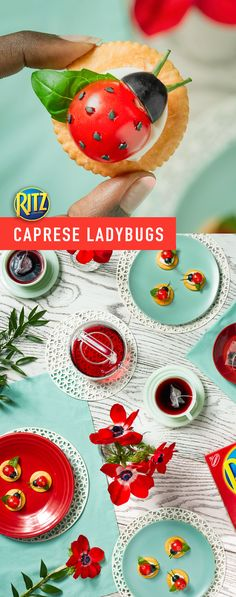 These appetizer snacks will have your tea party buzzing! Caprese Ladybugs look great and are surprisingly simple to make! These snacks are a great way to celebrate the arrival of spring. Instructions: Top each cracker with 1 cheese slice and 1 basil leaf. Snacks Für Party, Appetizers For Party, Appetizer Recipes, Ladybug Appetizers, Ladybug Snacks, Cute Food, Yummy Food, Kreative Snacks, Fingerfood Party