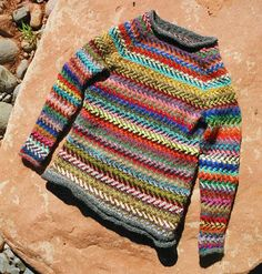 Great chevron-style 2-colour fair isle - good pattern for beanie or cushion or armwarmers