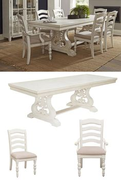 The Hampton Dining Set by Samuel Lawrence is a bright white finish has been distressed and aged. Simple moldings provide dimension and rhythm to this classic-yet-current style. This dining set includes a trestle table, four side chairs, and two armchairs to enhance the feel of your dining room. Purchase in-store or online at the Great American Home Store in Memphis, TN, and Southaven, MS. #diningroom #rustic #diningtable #memphistn #gogahs #gahs #ohmygahs #homedor #interiordesign