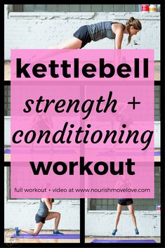 6 exercises, 55 reps, total body strength and conditioning kettlebell workout. Perfect at-home or gym workout that targets your full body - upper body, arms, lower Kettlebell Workouts For Women, Kettlebell Challenge, Kettlebell Cardio, Lower Ab Workouts, Kettlebell Training, Workout Challenge, Easy Workouts, Kettlebell Benefits, Kettlebell Routines