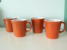 Vintage Cinnamon Corning Mugs Set of 4 by TheWhiteRabbitsAttic