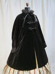 1860s-70 black silk velvet with silk lining