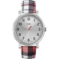 Timex Ladies' Easy Reader Red Plaid Leather Watch ($37) ❤ liked on Polyvore
