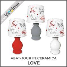 """Abat-jour in ceramica. modello """"Love"""". Finitura lucida con paralume plastificato decorato. In 3 colori: Rosso, Bianco e Grigio. Confezione: Vassoio """"Virtime"""" - Abat-jour Assemblata Dimensione: H. 26 Diam. 13 cm Ref.: S30065/10  #Virtime #virtimehome #milan #italy #italiandesign #interiordesign #decoring #house #homeart #homedecor #tools #creative #detail #decoration #nofilter #unique #furniture #materials #decorating #instadecor #lampada #luce #scrivania #snodabile #lamp #lightbulb #light…"""