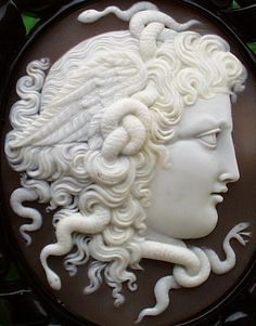 Gorgeous Medusa cameo pin, c 1880. The cameo measures 2 1/4 inches by 1 7/8 inches. What exquisite craftsmanship!