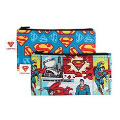 "Bumkins DC Comics Reusable Snack Bag Small 2 Pack, Superman  Lab tested food safe  Zipper closure  Single-ply construction  Machine washable, dishwasher safe (top rack), hang dry  Large bag measures 7""W x 7""H; Small bag measures 7""W x 3.5""H"