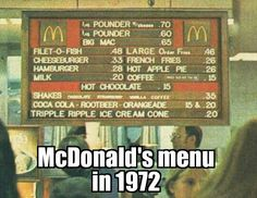 McDonald's Menu In 1972