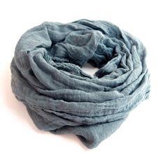 WOMEN - Steel Blue Gray Scarf Dark Gray Cotton Gauze by TheChicArtisan