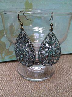 Polished brass patina earrings by joannestanley13 on Etsy, $10.00