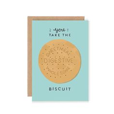 You Take the Biscuit  Cute Greetings Card  by stephsayshello, £2.75