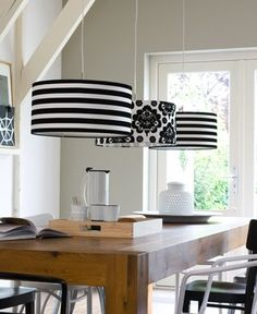 black and white lamp shades