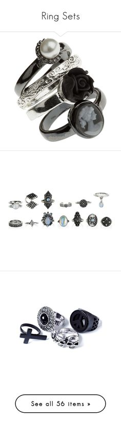 """Ring Sets"" by ashleythesm ❤ liked on Polyvore featuring jewelry, rings, accessories, gioielli, black, women, plastic jewelry, charm rings, cameo jewelry and cameo charm"
