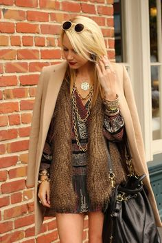 fur vest with dress