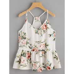 53ef04acbb3db6 Rose Cluster Print Peplum Racerback Cami Top ( 5.99) ❤ liked on Polyvore  featuring tops
