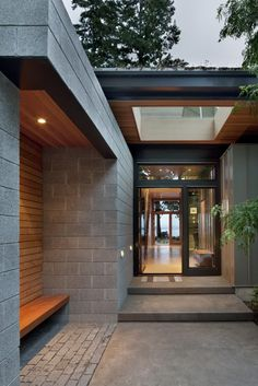 Sustainable home with modern design aesthetic - architecture Exterior Tiles, Modern Exterior, Exterior Design, Modern Entry, Architecture Design, Residential Architecture, Contemporary Architecture, Contemporary Design, Contemporary Benches
