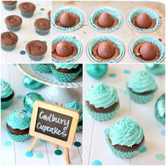 Cadbury Egg Easter Cupcakes! {Love the color!! Maybe for a Spring wedding. If not could always put something else in the middle like Reese's PB cup}