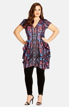 City Chic Paisley Mirror Print Front Zip Pleat Tunic Dress